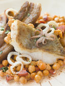 Pan Fried Cod Fillet and Baby Squid with Braised Belly Pork and — Stock Photo