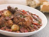 Rabbit Bread Chorizo Stew with Button Onions — Stock Photo