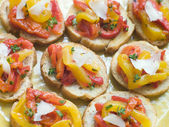 Open Tomato and Roasted Pepper Sandwich with Manchego Cheese — Stock Photo