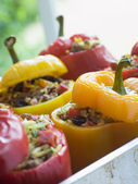 Bell Peppers stuffed with Spiced Rice and Dried Fruits — Stock Photo
