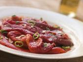 Marinated Roasted Capsicum with Garlic and Chili — Stock Photo