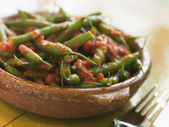 Green Beans with a Tomato Salsa — Stock Photo