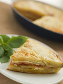 Spanish Potato and Chorizo Sausage Omelette — Stock Photo