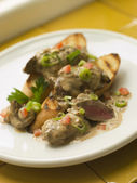Sauteed Chicken Livers in a Sherry Sauce — Stock Photo