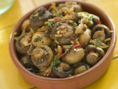 Garlic and Chilli Marinated Mushrooms — Stock Photo