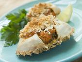 Plated Txangurro-Stuffed Crabs — Stock Photo