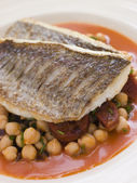 Fillets of Sea Bream with Chorizo Sausage Chickpeas and Tomato S — Stock Photo