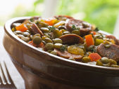 Green Lentil and Chorizo Sausage Stew — Stock Photo