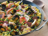 Valencian Paella in a Paella Pan — Stock Photo