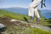 Close-up of woman hiking in the great outdoors, — Foto de Stock