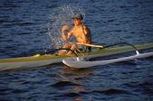 Man refreshing while canoeing — Stock Photo
