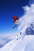 Skier jumping — Stock Photo