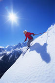 Young woman skiing — Stock Photo