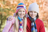 Children playing outdoors in autumn countryside — Stock Photo