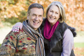 Affectionate senior couple on walk — Stock Photo