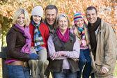 Multi-generation family on autumn walk — Stock Photo