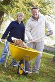Zoon helpen vader voor het verzamelen van bladeren — Stockfoto