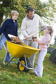 Children helping father to collect autumn leaves — Stock Photo