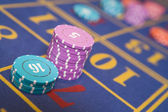 Stack of chips on roulette table — Stock Photo