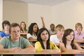 College student with hand raised in university lecture hall — Stock Photo