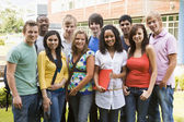 Group of college students on campus — Stockfoto