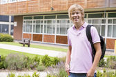 Male college student on camera — Stock Photo
