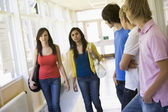 Male college students watching female students walking down univ — Stock Photo