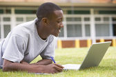 College student using laptop on campus lawn — Stock Photo