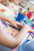Detail of elementary school art class — Stock Photo