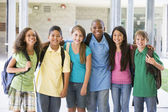 Elementary school class outside — Stock Photo
