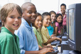 Elementary school computer class — Stock Photo