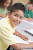 Mužský žáka v základní škole ve třídě — Stock fotografie
