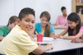 Elementary school pupil in classroom — Foto Stock