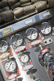 Gauges and dials on a fire engine — Stock Photo