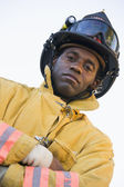 Portrait of a firefighter — Stock Photo