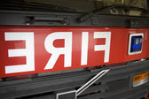 Detail of the front of a fire engine — Stock Photo