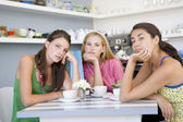 Young women having tea in a cafe — Stock Photo