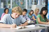 Estudante na escola de alta classe — Foto Stock