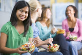 Teenage girls enjoying healthy lunches together — Stock Photo