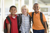 Three kindergarten boys standing together — Stockfoto