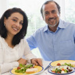 A Middle Eastern couple enjoying a meal together — Stock Photo