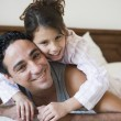 Stock Photo: Middle Eastern mwith his daughter