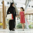 A Middle Eastern woman with a girl in a shopping mall — Stock Photo #4760678