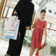 A Middle Eastern woman with a girl in a shopping mall — Stock Photo #4760683