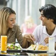 Couple enjoying lunch at cafe — Stock Photo #4760901