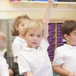 Stock Photo: Schoolboy raises his hand in primary class