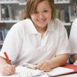 Stock Photo: Student studying in library