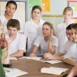 Schoolchildren and teacher in science class — Stock Photo #4761274