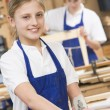 Schoolgirl in woodwork class — Stock Photo #4761402