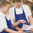 Schoolboys in woodwork class — Stock Photo